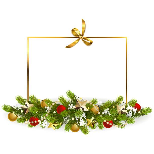 Vektor Fir Weihnachtsdekoration mit goldenen Bogen – Vektorgrafik