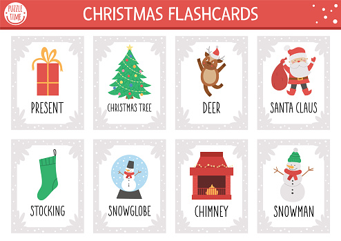 Vector Christmas flash cards set. English language game with cute Santa Claus, Christmas tree, snowman for kids. Holiday winter party flashcards. Simple educational printable worksheet.