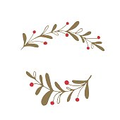 Vector hand drawn isolated floral elements, branches with berries. Simple modern design, scandinavian style. For holiday cards, decorations, templates. Part of a large winter collection.