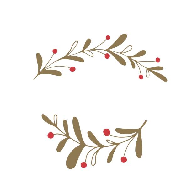 Vector Christmas floral element Vector hand drawn isolated floral elements, branches with berries. Simple modern design, scandinavian style. For holiday cards, decorations, templates. Part of a large winter collection. berry fruit stock illustrations