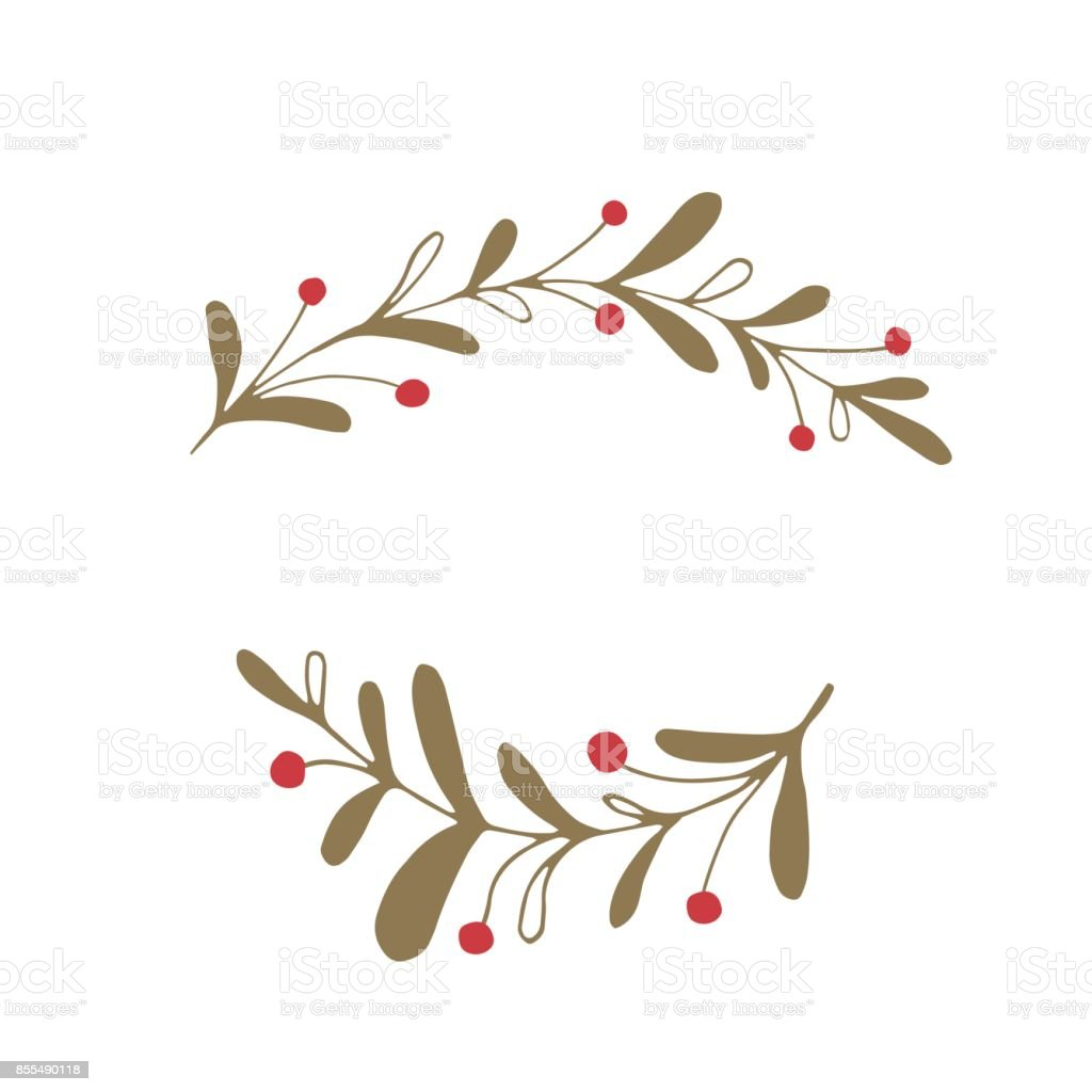 Vector Christmas floral element vector art illustration
