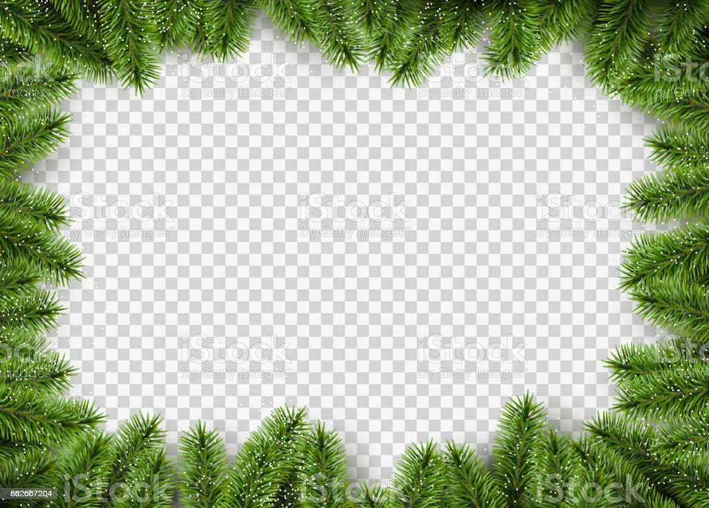 Vector christmas frame with pine branches. vector art illustration