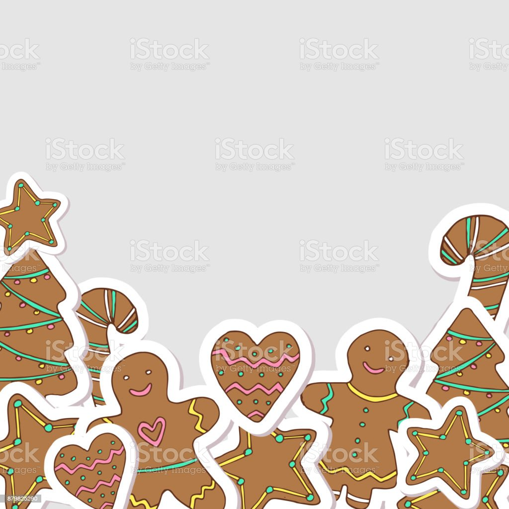 Vector Christmas Gingerbread Cookies Decorative Frame Hand Drawn