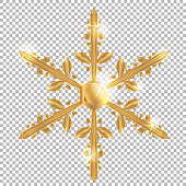 Vector Christmas golden snowflake on transparent background. Easy to use element for your design