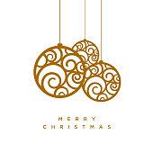 Vector Christmas greeting card design with abstract swirl Christmas balls.