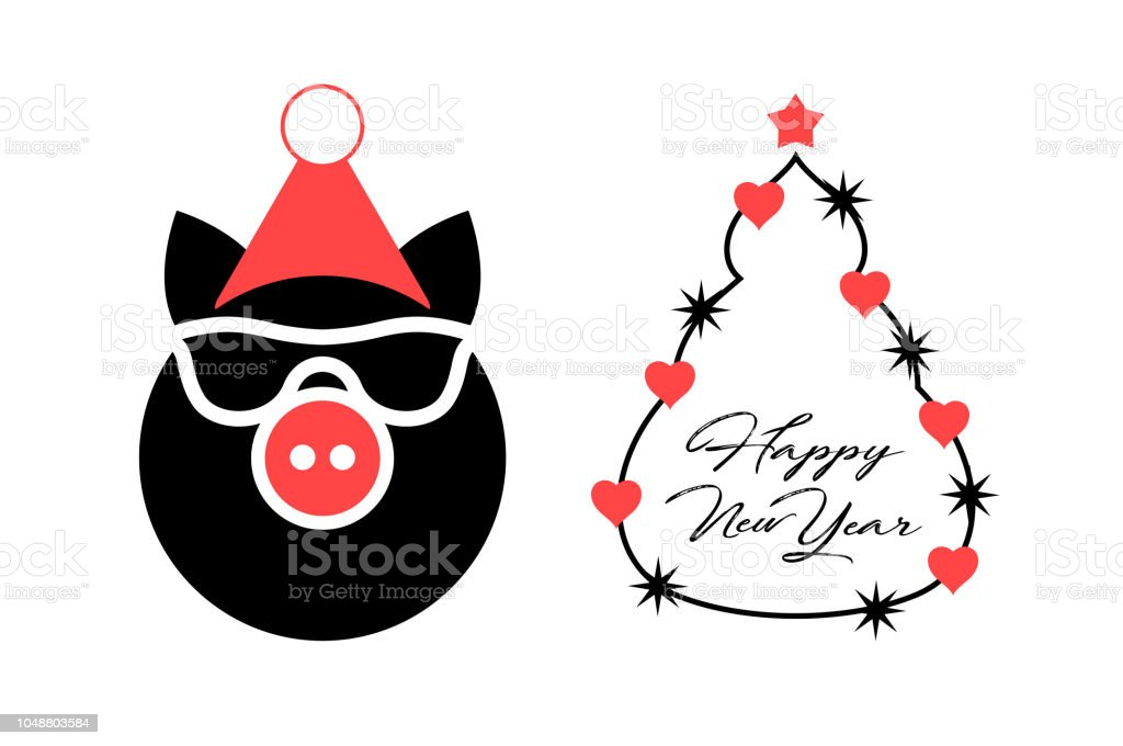 year of the pig 2019 vector christmas greeting card template merry