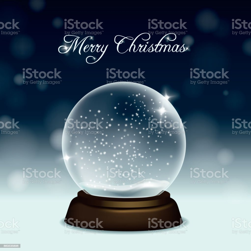 Vector christmas greeting card with snow globe on snow and night sky background vector art illustration