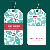 Vector christmas holly berries vertical stripe frame pattern tags set graphic design
