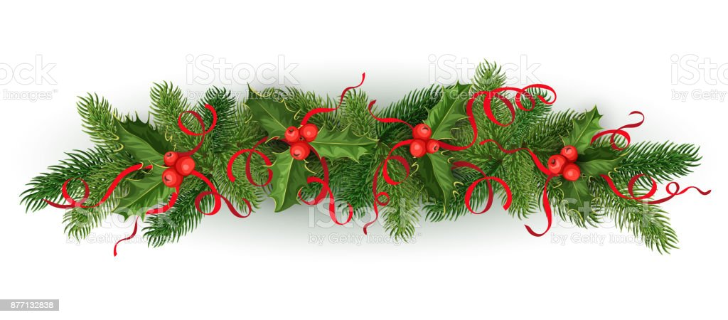 Vector Christmas Holly Spruce Tree Garland Stock Vector