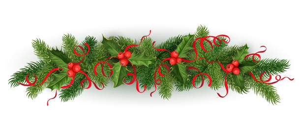 Clip Art Of Silk Flower Arrangements Vector Images Illustrations Christmas Holly Spruce Tree Garland
