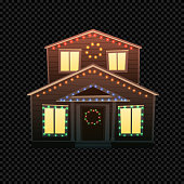 Vector Christmas House Isolated on Dark Transparent Background. Festive House with Bright Xmas Lights in Different Colors. Cartoon Illustration of Small Building.