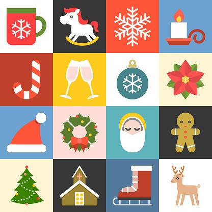 Vector christmas icons set 2, flat design