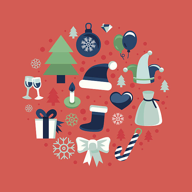 Vector christmas icons Vector christmas icons and signs in retro flat style - greeting card design elements champaign illinois stock illustrations