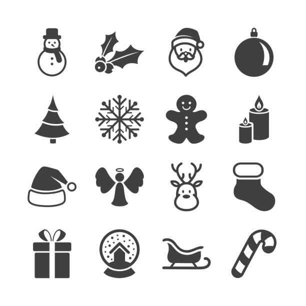 Vector Christmas Icons Vector Illustration of Christmas Icons snowman stock illustrations