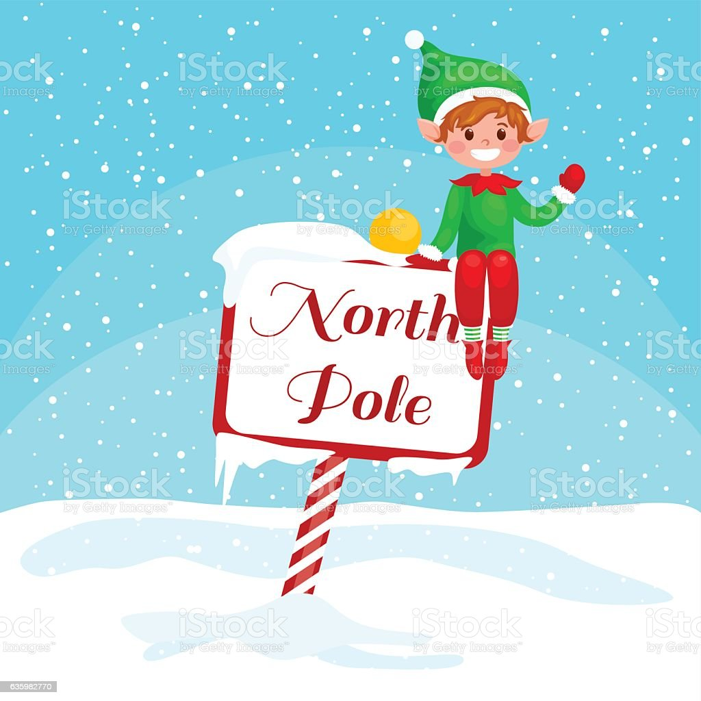 Vector Christmas illustration Elf  with a North Pole sign. vector art illustration