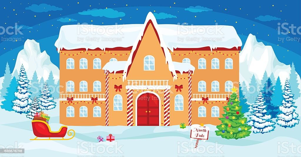 vector christmas illustration house santa at the north pole royalty free vector christmas illustration - Santa And The North Pole