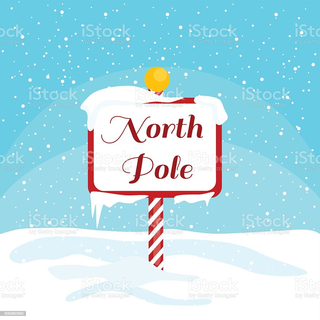 Vector Christmas illustration with a North Pole sign with snow vector art illustration