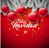 Vector Christmas Illustration with Spanish Feliz Navidad Typography on Red Background. Holiday Glass Ball and Pine Branch Design for Greeting Card, Party Invitation or Promo Banner