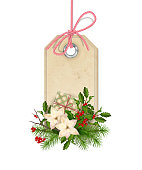 Christmas vector label with holiday composition on a white background