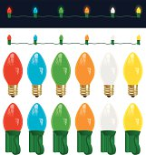 A collection of colorful Christmas C7 light bulbs in vector format.  Complete with a lighted string on a dark blueish-black background.