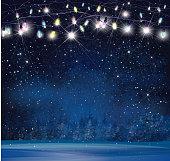 Vector Christmas lights on  night wonderland background.