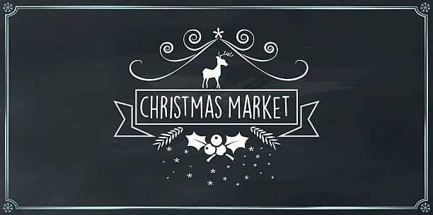 vector christmas market vintage badge on chalk board - weihnachtsmarkt stock-grafiken, -clipart, -cartoons und -symbole