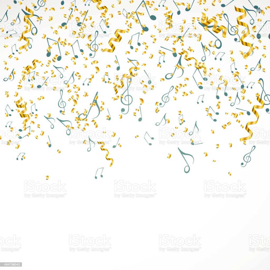 vector christmas music background with music notes and golden confetti royalty free vector christmas music