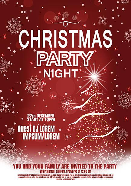 vector christmas night party poster on the dark red gradient - landgastgeschenke stock-grafiken, -clipart, -cartoons und -symbole