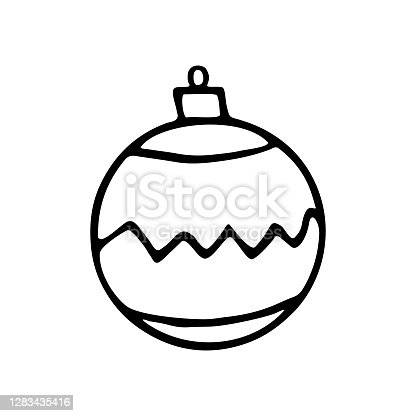istock Vector Christmas outline tree ball. Element of New year and xmas design in doodle style, isolated. Simple hand drawn illustration for greeting cards, calendars, prints, childrens coloring book 1283435416