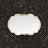 Vector stylish black polka dot background with vintage paper card