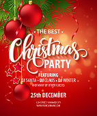 Vector Christmas Party design template. Vector illustration