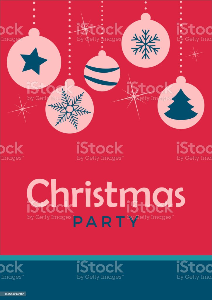 Vector Christmas Party Invitation With Balls On Christmas Tree