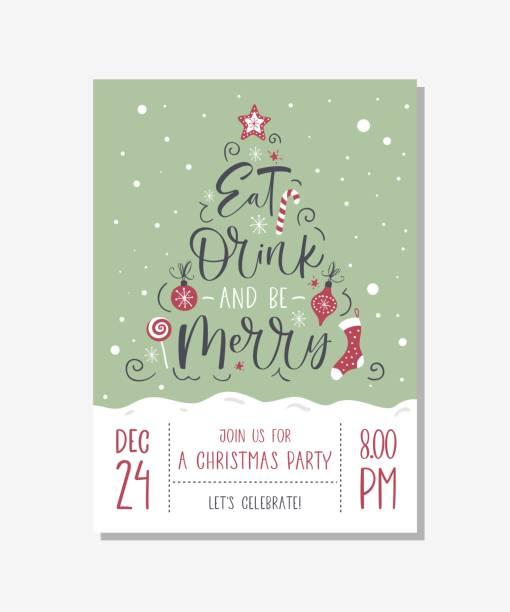 ilustrações de stock, clip art, desenhos animados e ícones de vector christmas party invitation with handwritten modern brush lettering. - eating