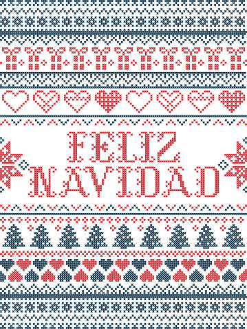 Vector Christmas  pattern Feliz Navidad inspired by  festive, winter Nordic culture in cross stitch with hearts, christmas present, decorative ornaments, snowflake, christmas tree, stars, snow in red