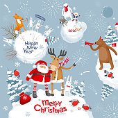 Christmas Galaxy. Vector Merry Christmas and New Year image with Cute cartoon  animals, birds and Santa for greeting cards, posters, banners, sales and other winter events.