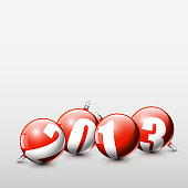 Vector Christmas realistic baubles 2013