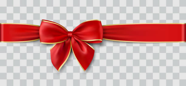 vector christmas ribbon - ribbon sewing item stock illustrations