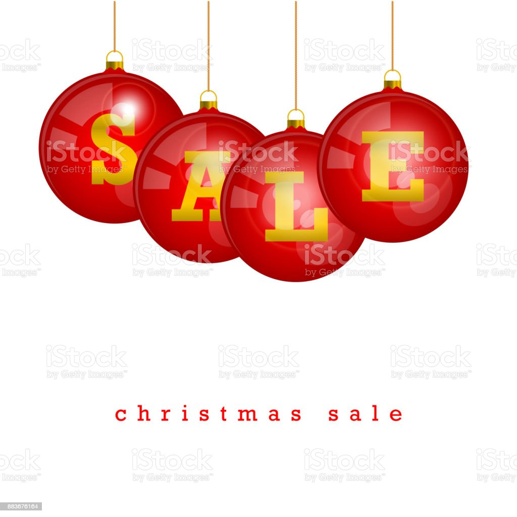 a8cf829acee Plantilla de vector Navidad Venta descuento  Colgar bolas de árbol de  Navidad rojo con las