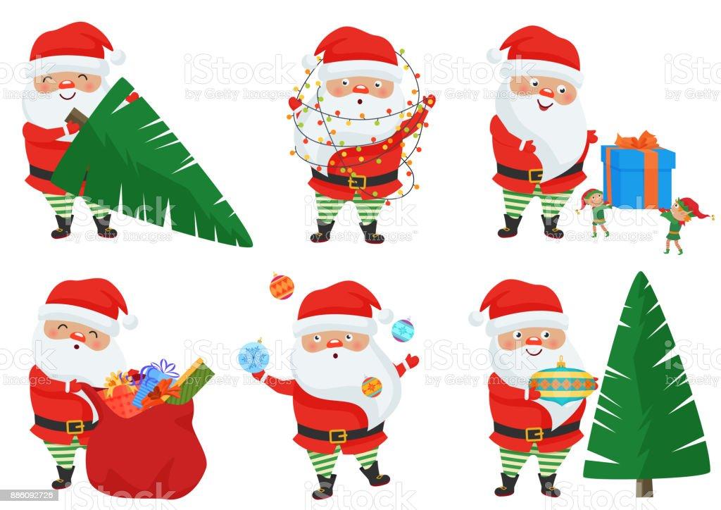 Vektor Weihnachten Weihnachtsmann Stellt Vektor Illustration ...