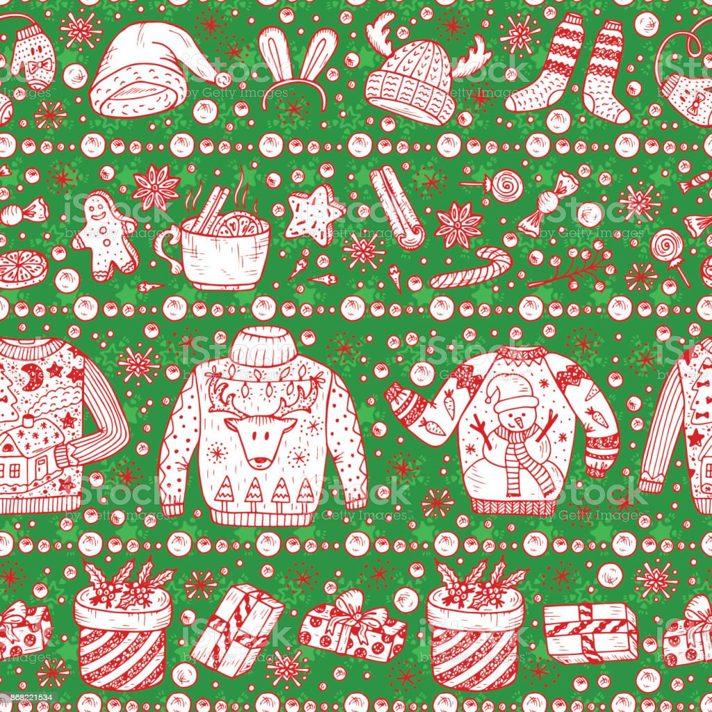 Vector Christmas Seamless Pattern Holiday Xmas Background ...
