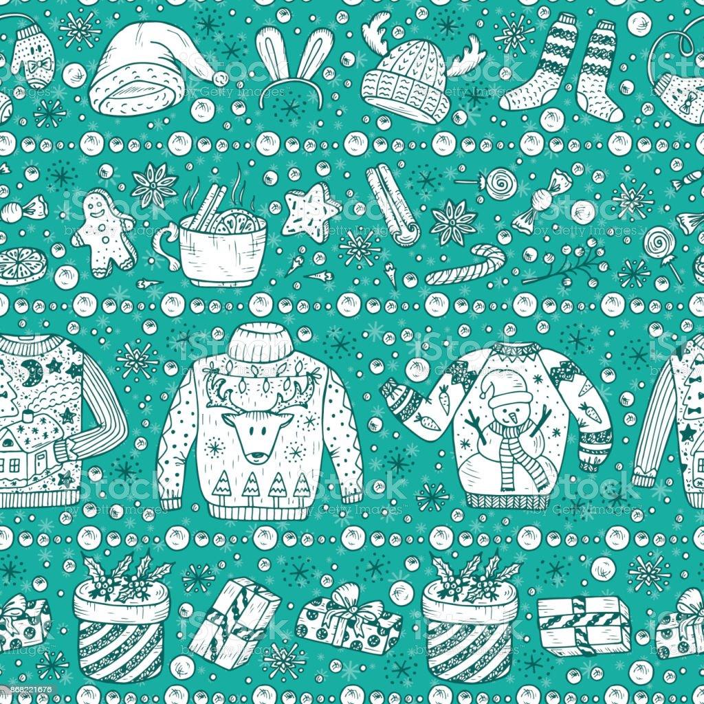 Doodle Weihnachtsfeier.Vektor Weihnachten Seamless Pattern Urlaub Weihnachten Hintergrund