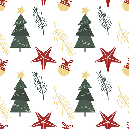 Vector christmas seamless pattern with christmas tree, toy, balls and stars in Scandinavian style for fabrics, paper, textile, gift wrap isolated on white background. New Year background