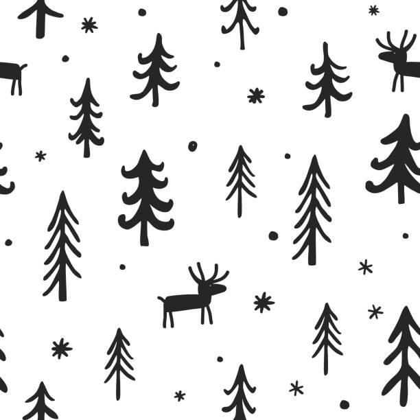 ilustrações de stock, clip art, desenhos animados e ícones de vector christmas seamless pattern with cute cartoon deer, trees, and snowflakes. white, black, and grey palette. scandinavian winter background. - hygge