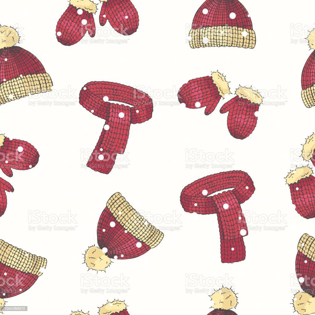 Ilustración de Vector Navidad Set De Mano Dibujado Color Sombrero ...
