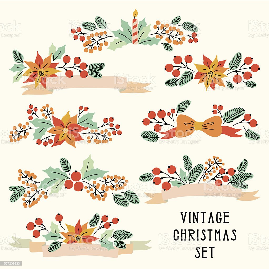 Vector Christmas set with vintage flowers royalty-free stock vector art