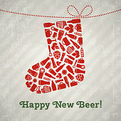Vector christmas sock beer poster. Happy new beer tagline. Christmas sock composed of craft beer bottles, mugs, glasses, ingredients and accessories. Retro grunge new year background