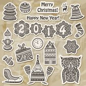 Vector Christmas stickers design elements:fir tree, ball, bell, sock, mitten, snowman, champagne with glasses,  house, sledge, owl, clock, and snowflakes on crumpled paper texture, transparency effects