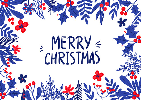 Vector Christmas template for greeting cards and invitations with Holly twigs in a flat style