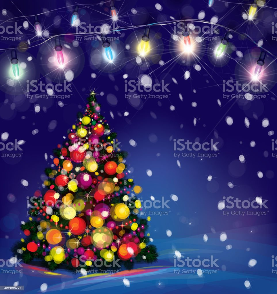 Vector Christmas Tree And Lights Decorations On Snowfall Background ...