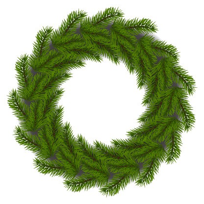 Vector. Christmas tree branch, Christmas tree, round wooden frame made of fir branches, wreath, no decorations. Realistic element of Christmas decor with shadows. Frame with copy space for text.